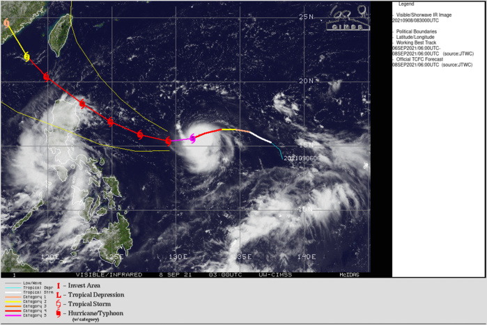 Western Pacific: Super Typhoon 19W(CHANTHU) reaches CAT 5, 2nd in 2021 after 02W(SURIGAE) in April, 08/09utc update