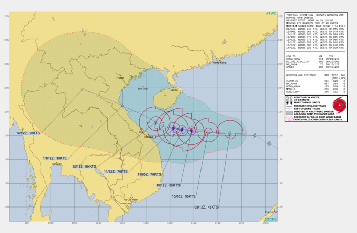 TS 18W(CONSON). WARNING 15 ISSUED AT 09/15UTC.SIGNIFICANT FORECAST CHANGES: THERE ARE NO SIGNIFICANT CHANGES TO THE FORECAST FROM THE PREVIOUS WARNING.  FORECAST DISCUSSION: TROPICAL STORM (TS) 18W IS CURRENTLY TRACKING WESTWARD UNDER THE INFLUENCE OF THE SUBTROPICAL RIDGE TO THE NORTHEAST. AROUND 48H, IT WILL TURN MORE WEST-NORTHWESTWARD AS A MID-LATITUDE TROUGH BEGINS TO DEEPEN TO THE NORTH, CREATING A WEAK  STEERING ENVIRONMENT. THE SYSTEM IS EXPECTED TO MAKE LANDFALL OVER  NORTHERN VIETNAM ROUGHLY 185 KM SOUTH OF HANOI. THE MARGINALLY  FAVORABLE ENVIRONMENT WILL ALLOW SLIGHT INTENSIFICATION TO A PEAK OF  70 KNOTS/CAT 1 AROUND 48H. AFTERWARD, INCREASING VERTICAL WIND SHEAR AND  LAND INTERACTION WITH THE COAST OF VIETNAM WILL WEAKEN THE SYSTEM TO  30 KNOTS JUST BEFORE LANDFALL AT ABOUT 96H.