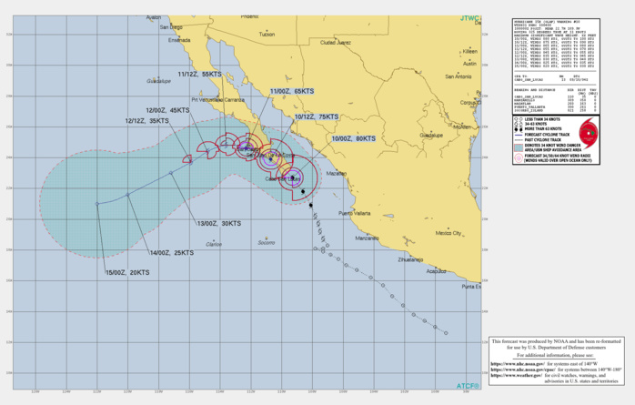 EASTERN PACIFIC. HU 15E(OLAF). WARNING 10 ISSUED AT 10/03UTC. CURRENT INTENSITY IS 80KNOTS/CAT1. THE HURRICANE IS POISED TO MAKE LANDFALL APPRX 25KM EAST OF CABO SAN LUCAS/MEXICO.