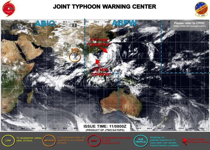 Western Pacific: 18W(CONSON): landfall South of Dan Nang, 19W(CHANTHU) skirting Taiwan as a CAT 4 Typhoon, 11/15utc updates