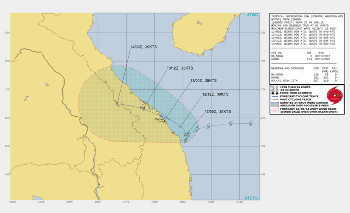 TD 19W(CONSON). WARNING 25 ISSUED AT 12/03UTC.SIGNIFICANT FORECAST CHANGES: THERE ARE NO SIGNIFICANT CHANGES TO THE FORECAST FROM THE PREVIOUS WARNING.  FORECAST DISCUSSION: TD 18W IS FORECAST TO MAINTAIN A QUASI-STATIONARY MOTION THROUGH 12H UNDER A COMPETING STEERING ENVIRONMENT. AFTER 12H, THE SUBTROPICAL RIDGE TO THE NORTH IS EXPECTED TO STRENGTHEN, ALLOWING TD 18W TO ACCELERATE WEST-NORTHWESTWARD INTO VIETNAM. ONCE THE SYSTEM TRACKS OVER THE MOUNTAINOUS TERRAIN OF VIETNAM, IT'S EXPECTED TO RAPIDLY DISSIPATE.