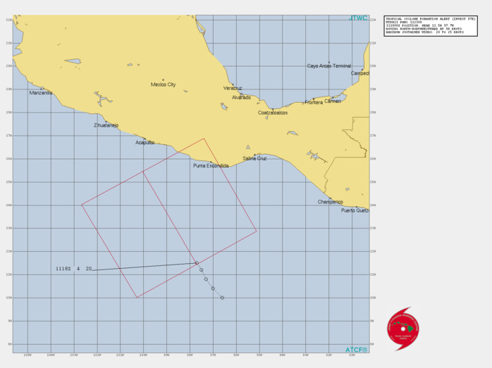 EASTERN PACIFIC. INVEST 97E. TROPICAL CYCLONE FORMATION ALERT ISSUED AT 11/23UTC.1. FORMATION OF A SIGNIFICANT TROPICAL CYCLONE IS POSSIBLE WITHIN 175 NM EITHER SIDE OF A LINE FROM 11.5N 97.7W TO 15.5N 100.0W WITHIN THE NEXT 12 TO 24 HOURS. AVAILABLE DATA DOES NOT JUSTIFY ISSUANCE OF NUMBERED TROPICAL CYCLONE WARNINGS AT THIS TIME. WINDS IN THE AREA ARE ESTIMATED TO BE 20 TO 25 KNOTS. METSAT IMAGERY AT 111800Z INDICATES THAT A CIRCULATION CENTER IS LOCATED NEAR 11.5N 97.7W. THE SYSTEM IS MOVING NORTH-NORTHWESTWARD AT 07 KM/H. 2. REMARKS: AN AREA OF CONVECTION (INVEST 97E) HAS PERSISTED NEAR  11.5N 97.7W, APPROXIMATELY 3080 KM SOUTHEAST OF SAN DIEGO. ANIMATED  MULTISPECTRAL SATELLITE IMAGERY DEPICTS A NARROW BAND OF DEEP  CONVECTION WRAPPING INTO A BROAD LOW LEVEL CIRCULATION CENTER. UPPER  LEVEL ANALYSIS INDICATES THE DISTURBANCE IS LOCATED UNDER AN AREA OF  BROAD DIFFLUENCE WITH LOW TO MODERATE VERTICAL WIND SHEAR.MAXIMUM SUSTAINED SURFACE  WINDS ARE ESTIMATED AT 20 TO 25 KNOTS. MINIMUM SEA LEVEL PRESSURE IS  ESTIMATED TO BE NEAR 1004 MB. THE POTENTIAL FOR THE DEVELOPMENT OF A  SIGNIFICANT TROPICAL CYCLONE WITHIN THE NEXT 24 HOURS IS HIGH.