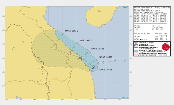TD 18W(CONSON). WARNING 26 ISSUED AT 12/09UTC.SIGNIFICANT FORECAST CHANGES: THERE ARE NO SIGNIFICANT CHANGES TO THE FORECAST FROM THE PREVIOUS WARNING.  FORECAST DISCUSSION: TD 18W IS CURRENTLY EMBEDDED IN A COMPLEX STEERING PATTERN WITH THREE RIDGES COMPETING TO DOMINATE THE STEERING FLOW. OVER THE NEXT 12 HOURS, THE RIDGE TO THE NORTH IS FORECAST TO WEAKEN AND MOVE EASTWARD, WHILE THE RIDGE TO THE EAST BUILDS IN OVER THE SOUTH CHINA SEA AND PUSHES TD 18W OUT OF ITS CURRENT QUASI-STATIONARY POSITION. THROUGH THE REMAINDER OF THE FORECAST PERIOD THE SYSTEM WILL TRACK NORTHWESTWARD ALONG THE WESTERN PERIPHERY OF DEEP SUBTROPICAL RIDGING. THE SYSTEM IS EXPECTED TO MAKE LANDFALL NEAR DA NANG, VIETNAM IN ABOUT 24 HOURS, BEFORE PROCEEDING FURTHER INLAND. DUE TO THE PERSISTENT HIGH VERTICAL WIND SHEAR, THE SYSTEM IS NOT EXPECTED TO INTENSIFY, AND WILL MAINTAIN ITS CURRENT INTENSITY THROUGH LANDFALL. ONCE OVER LAND, TERRAIN INTERACTION WILL LEAD TO RAPID DISSIPATION NO LATER THAN 48H.