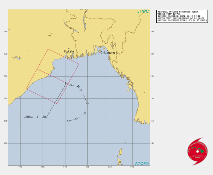 NORTH INDIAN. INVEST 95B. TROPICAL CYCLONE FORMATION ALERT ISSUED AT 12/07UTC.1. FORMATION OF A SIGNIFICANT TROPICAL CYCLONE IS POSSIBLE WITHIN 220 KM EITHER SIDE OF A LINE FROM 19.4N 88.2E TO 20.7N 85.5E WITHIN THE NEXT 12 TO 24 HOURS. AVAILABLE DATA DOES NOT JUSTIFY ISSUANCE OF NUMBERED TROPICAL CYCLONE WARNINGS AT THIS TIME. WINDS IN THE AREA ARE ESTIMATED TO BE 25 TO 30 KNOTS. METSAT IMAGERY AT 120600Z INDICATES THAT A CIRCULATION CENTER IS LOCATED NEAR 19.4N 88.1E. THE SYSTEM IS MOVING WEST-NORTHWESTWARD AT 07 KM/H. 2. REMARKS:AN AREA OF CONVECTION HAS PERSISTED NEAR 19.4N 88.1E,  APPROXIMATELY 340 KM SOUTH OF KOLKATA. ANIMATED MULTISPECTRAL  IMAGERY DEPICTS DEEP CONVECTION SURROUNDING MOST OF THE BROAD LOW  LEVEL CIRCULATION CENTER (LLCC), WHILE STEADILY CONSOLIDATING.  ENVIRONMENTAL ANALYSIS NOW INDICATES A FAVORABLE ENVIRONMENT DUE TO  A DECREASE IN VERTICAL WIND SHEAR (VWS) FROM MODERATE TO LOW (10KT),  GOOD EQUATORWARD OUTFLOW ALOFT AND VERY WARM (30C) SEA SURFACE  TEMPERATURES (SST). MAXIMUM SUSTAINED  SURFACE WINDS ARE ESTIMATED AT 25-30 KNOTS. MINIMUM SEA LEVEL  PRESSURE IS ESTIMATED TO BE NEAR 996 MB. THE POTENTIAL FOR THE  DEVELOPMENT OF A SIGNIFICANT TROPICAL CYCLONE WITHIN THE NEXT 24  HOURS IS HIGH. //
