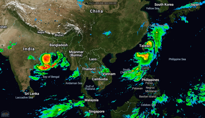 Western Pacific: 19W(CHANTHU) resilient as a strong CAT 3//North Indian: Tropical Cyclone Formation Alert for Invest 95B, 12/09utc