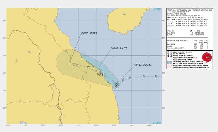 TD 18W(CONSON). WARNING 28/FINAL ISSUED AT 12/21UTC.REMARKS: 122100Z POSITION NEAR 15.6N 108.8E. 12SEP21. TROPICAL DEPRESSION (TD) 18W (CONSON), LOCATED APPROXIMATELY 110 KM SOUTHEAST OF DA NANG, VIETNAM, HAS TRACKED NORTHWESTWARD AT 02 KM/H OVER THE PAST SIX HOURS. ANIMATED ENHANCED INFRARED  SATELLITE IMAGERY AND ANIMATED RADAR IMAGERY DEPICT A DECAYING LOW- LEVEL CIRCULATION WITH A WEAKLY DEFINED CENTER. UPPER-LEVEL ANALYSIS  INDICATES UNFAVORABLE CONDITIONS WITH MODERATE TO STRONG EASTERLY  VERTICAL WIND SHEAR, WHICH WILL PERSIST THROUGH THE FORECAST PERIOD.  SURFACE OBSERVATIONS FROM QUANG NGAI, 40KM TO THE SOUTHWEST,  INDICATE STEADILY RISING SLP WITH A 12/18Z SLP VALUE AT 1001.4MB  REFLECTING THE STEADY WEAKENING TREND. THE SYSTEM IS FORECAST TO  TRACK NORTHWESTWARD INTO VIETNAM WITH DISSIPATION BY 12H. THIS IS  THE FINAL WARNING ON THIS SYSTEM BY THE JOINT TYPHOON WRNCEN PEARL  HARBOR HI. THE SYSTEM WILL BE CLOSELY MONITORED FOR SIGNS OF  REGENERATION. MAXIMUM SIGNIFICANT WAVE HEIGHT AT 121800Z IS 12 FEET.