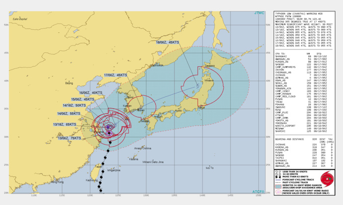 TY 19W(CHANTHU). WARNING 29 ISSUED AT 13/09UTC.SIGNIFICANT FORECAST CHANGES: THERE ARE NO SIGNIFICANT CHANGES TO THE FORECAST FROM THE PREVIOUS WARNING.  FORECAST DISCUSSION: TY 19W HAS CONTINUED TO TRACK RATHER QUICKLY POLEWARD ALONG THE WESTERN PERIPHERY OF THE SUBTROPICAL RIDGE OVER THE PAST SIX HOURS, THOUGH IS SHOWING SOME SIGNS OF SLOWING DOWN AFTER THE 0600Z HOUR. A BUILDING RIDGE TO THE WEST OVER EAST-CENTRAL CHINA IS EXPECTED TO EXTEND EAST ACROSS THE SHANDONG PENINSULA INTO THE YELLOW SEA AND EFFECTIVELY BLOCK FURTHER POLEWARD MOVEMENT AFTER 12H. ONCE THIS RIDGE IS IN PLACE, TY 19W IS FORECAST TO REMAIN QUASI-STATIONARY OR DRIFT SLOWLY EASTWARD IN A COMPETING STEERING FLOW BETWEEN THE RIDGE TO THE WEST AND THE LARGE STR EAST-SOUTHEAST OF JAPAN. WHILE VERTICAL WIND SHEAR(VWS) IS FORECAST TO DECREASE AFTER 12H, THE QUASI-STATIONARY MOTION OVER RELATIVELY COOL AND LOW OCEAN HEAT CONTENT WATERS, COMBINED WITH A REDUCTION IN OUTFLOW ALOFT, WILL RESULT IN STEADY WEAKENING TO 40 KNOTS BY 72H. AFTER 48H, AN APPROACHING MID-LATITUDE TROUGH WILL ERODE THE WESTERN RIDGE AND BY 72H WILL EJECT TY 19W OUT OF THE WEAK STEERING FLOW AND ACCELERATE NORTHEASTWARD. THE SYSTEM WILL BEGIN EXTRA-TROPICAL TRANSITION (ETT) BY 96H AS IT BEGINS TO INTERACT WITH THE BAROCLINIC ZONE. AS THE SYSTEM ACCELERATES NORTHEAST ALONG THE SOUTHERN COAST OF KOREA, IT WILL INCREASE SLIGHTLY IN INTENSITY AS ROBUST POLEWARD OUTFLOW OFFSETS INCREASING VWS. BY 120H THE SYSTEM WILL COMPLETE ETT AS IT MOVES UNDER THE 200MB JET AND DEVELOPS FRONTAL CHARACTERISTICS.