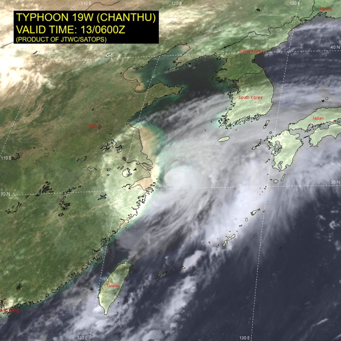 TY 19W(CHANTHU).  SATELLITE ANALYSIS, INITIAL POSITION AND INTENSITY DISCUSSION: TY 19W CONTINUES TO RAPIDLY WEAKEN AS IT TRACKS NORTHWARD TO THE EAST OF SHANGHAI. ANIMATED MULTISPECTRAL SATELLITE IMAGERY (MSI) DEPICTS A COMPACT CORE OF MODERATE CONVECTIVE ACTIVITY SURROUNDED BY A MOAT OF WEAK CONVECTION AND SPIRAL BANDS OF WEAK CONVECTION AROUND THE PERIPHERY OF THE SYSTEM. A 130455Z AMSR2 89GHZ MICROWAVE IMAGE SHOWED MODERATE CONVECTION ON THE NORTHERN HEMISPHERE OF THE LOW LEVEL CIRCULATION CENTER, WITH MINIMAL CONVECTION TO THE SOUTH. THE INITIAL POSITION IS ASSESSED WITH HIGH CONFIDENCE BASED ON AN EXTRAPOLATION OF THE WEAK LLCC EVIDENT IN THE AMSR2 IMAGERY SUPPORTED BY ANALYSIS OF ANIMATED RADAR DATA. THE INITIAL INTENSITY IS ASSESSED WITH HIGH CONFIDENCE AT 75 KNOTS/CAT 1, HEDGED BELOW THE AGENCY CURRENT INTENSITY ESTIMATES OF 90 KNOTS IN LIGHT OF THE MUCH LOWER DATA-T NUMBERS RANGING BETWEEN T4.0-4.5 (65-75 KTS). ADDITIONALLY, THE AMSR2 WINDSPEED PRODUCT INDICATED MAXIMUM WINDS OF 75 KNOTS. TY 19W IS MOVING THROUGH A MARGINALLY FAVORABLE ENVIRONMENT WITH MODERATE TO STRONG (20-25 KTS) VERTICAL WIND SHEAR OFFSET BY ROBUST POLEWARD OUTFLOW. SSTS HAVE COOLED TO 27C BUT STILL REMAIN WARM ENOUGH TO SUSTAIN THE TROPICAL CYCLONE.