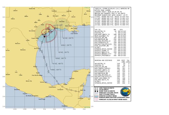 ATLANTIC. TS 14L(NICHOLAS). WARNING 9 ISSUED AT 14/09UTC.