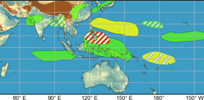 Dynamical models show a general potential for tropical cyclone development over the West Pacific basin in the vicinity of the Philippines, but the Joint Typhoon Warning Center is not currently monitoring any specific invest areas.NOAA.