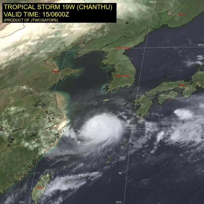 TS 19W(CHANTU). SATELLITE ANALYSIS, INITIAL POSITION AND INTENSITY DISCUSSION: ANIMATED MULTISPECTRAL SATELLITE IMAGERY (MSI) SHOWS THE SYSTEM HAS FURTHER DEVELOPED ITS CENTRAL CONVECTION, WHICH IS PARTLY OBSCURING THE LOW LEVEL CIRCULATION CENTER (LLCC). THE INITIAL POSITION IS PLACED WITH MEDIUM CONFIDENCE BASED ON A NOTCH FEATURE IN THE 150545Z GMI 37GHZ MICROWAVE IMAGE. THE INITIAL INTENSITY IS ASSESSED WITH MEDIUM CONFIDENCE BASED ON THE OVERALL ASSESSMENT OF AGENCY AND AUTOMATED DVORAK ESTIMATES. ANALYSIS INDICATES A MARGINALLY FAVORABLE ENVIRONMENT WITH MODERATE EQUATORWARD OUTFLOW AND LOW VWS. THE SYSTEM CONTINUES TO DEVELOP IN A COL REGION.