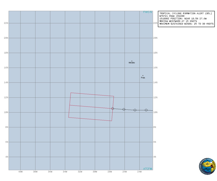 ATLANTIC. INVEST 95L. TROPICAL CYCLONE FORMATION ALERT ISSUED AT 15/22UTC.