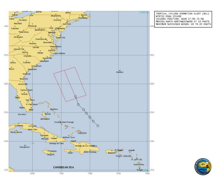 INVEST 96L. TROPICAL CYCLONE FORMATION ALERT ISSUED AT 15/14UTC.