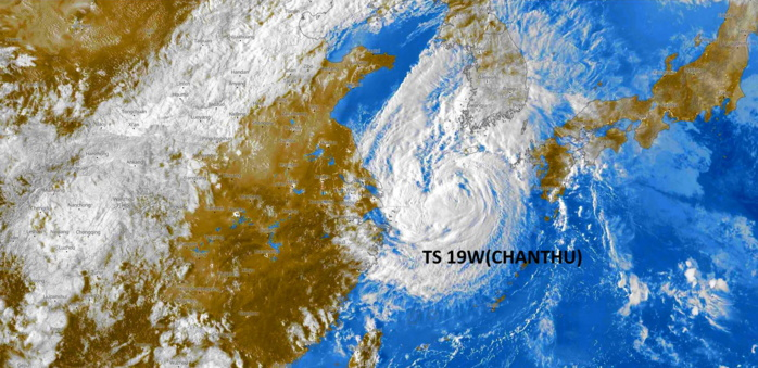 TS 19W(CHANTHU). SATELLITE ANALYSIS, INITIAL POSITION AND INTENSITY DISCUSSION: TROPICAL STORM 19W APPEARS TO HAVE FINALLY STARTED ITS LONG-AWAITED TRACK TOWARDS THE NORTHEAST. ANIMATED MULTISPECTRAL SATELLITE IMAGERY (MSI) DEPICTS A VERY WELL DEFINED SWIRL OF LOW-LEVEL CLOUD BANDS WRAPPING INTO A LOW-LEVEL CIRCULATION CENTER (LLCC) OBSCURED BY FLARING CONVECTION EXTENDING SOUTHWARD FROM THE ASSESSED CENTER POSITION. THE INITIAL POSITION IS PLACED WITH HIGH CONFIDENCE BASED ON THE ANIMATED VISIBLE IMAGERY, AND WITHIN THE CONGRUENCE OF AGENCY FIX POSITIONS. THE INITIAL INTENSITY REMAINS ASSESSED AT 55 KNOTS WITH MEDIUM CONFIDENCE BASED ON THE MEDIAN OF THE AGENCY CURRENT INTENSITY ESTIMATES, HEDGED SLIGHTLY HIGHER THAN THE ADT AND SATCON ESTIMATES.  THE OVERALL STRUCTURE APPEARS SHEARED WITH AN AREA TO THE NORTH OF THE LLCC DEVOID OF ANY SIGNIFICANT CONVECTION. ANALYSIS OF A 160000Z UPPER-AIR SOUNDING FROM HEUKSANDO INDICATE THE PRESENCE OF VERY DRY AIR BETWEEN 300-600MB, WHICH SUPPORTS WHAT IS SEEN IN THE IMAGERY. ADDITIONALLY, WHILE HIGH-RESOLUTION HWRF SOUNDINGS AND CIMSS AUTOMATED UPPER-LEVEL ANALYSIS REVEALS LOW SOUTHERLY WIND SHEAR, THE SHARP NORTHERN EDGE OF THE CONVECTION FLARING NEAR THE CENTER CLEARLY SUPPORT A NORTHERLY SHEAR VECTOR OVER TOP OF THE SYSTEM, AND THE LATEST CIMSS ATMOSPHERIC MOTION VECTOR (AMV) ANALYSIS SUGGESTS THE PRESENCE OF A SMALL, WEAK ANTICYCLONE JUST NORTHWEST OF THE LLCC, WHICH WOULD SUPPORT A NORTHERLY WIND AT 200MB OVER TOP OF 19W. EXCEPTING THE DRY AIR AND THE NORTHERLY SHEAR, THE ENVIRONMENT OTHERWISE FAVORABLE WITH WARM SSTS AND ROBUST POLEWARD OUTFLOW.