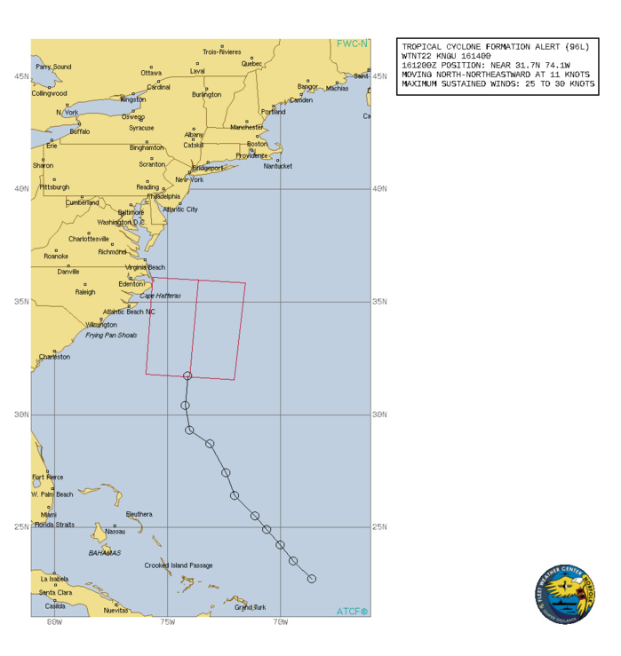 ATLANTIC. INVEST 96L. TROPICAL CYCLONE FORMATION ALERT ISSUED AT 16/14UTC.