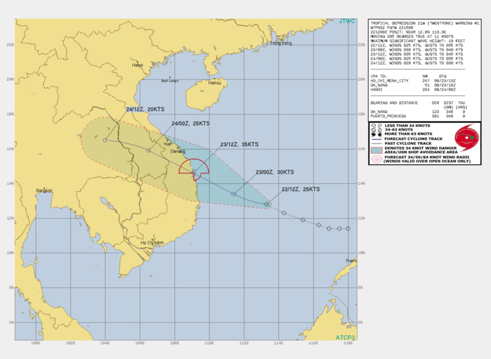 FORECAST REASONING.  SIGNIFICANT FORECAST CHANGES: THIS INITIAL PROGNOSTIC REASONING MESSAGE ESTABLISHES THE FORECAST PHILOSOPHY.  FORECAST DISCUSSION: TD 21W IS FORECASTED TO TRACK STEADILY WEST-NORTHWESTWARD THROUGH THE DURATION OF THE FORECAST PERIOD ALONG THE SOUTHERN PERIPHERY OF THE LOW- TO MID-LEVEL SUBTROPICAL RIDGE CENTERED TO THE NORTH. THE SYSTEM IS EXPECTED TO MAKE LANDFALL ALONG THE CENTRAL VIETNAM COASTLINE AROUND 24H, TO THE SOUTH OF DA NANG. CONDITIONS ARE GENERALLY FAVORABLE FOR INTENSIFICATION WITH THE ONLY LIMITING FACTORS BEING THE MODEST, SINGLE-CHANNEL OUTFLOW AND LIMITED TIME AVAILABLE PRIOR TO LANDFALL. TD 21W IS EXPECTED TO INTENSIFY AT A CLIMATOLOGICAL RATE TO A PEAK OF 35 KNOTS AT OR JUST PRIOR TO LANDFALL NEAR 24H. ONCE INLAND THE SYSTEM WILL RAPIDLY DISSIPATE BY TAU 48 OVER EASTERN THAILAND DUE TO TERRAIN INTERACTION.