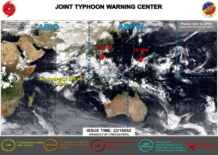 JTWC IS ISSUING 6HOURLY WARNINGS AND 3HOURLY SATELLITE BULLETINS ON 20W AND 21W.