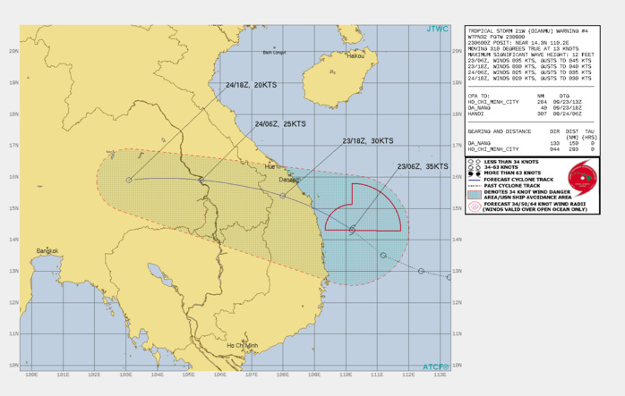 SIGNIFICANT FORECAST CHANGES: THERE ARE NO SIGNIFICANT CHANGES TO THE FORECAST FROM THE PREVIOUS WARNING.  FORECAST DISCUSSION: TD 21W IS EXPECTED TO CONTINUE ON ITS CURRENT TRACK AND MAKE LANDFALL SOUTH OF DANANG BEFORE 12H AND TRANSITION ACROSS THE RUGGED TERRAIN OF VIETNAM AND INTO CAMBODIA. THE MARGINAL ENVIRONMENT WILL LIKELY MAINTAIN INTENSITY WHILE OVER WATER BEFORE BEGINNING DISSIPATION DUE TO LAND INTERACTION. LAND INTERACTION WILL ERODE THE SYSTEM TO DISSIPATION BY 36H.