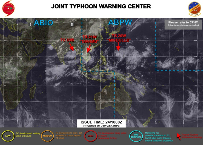 Western Pacific:TS 20W(MINDULLE):forecast to reach STY intensity by 96hours//North Indian:TC 03B intensifying over the BOB//Atlantic:18L(SAM)intensifying Hurricane,24/09utc