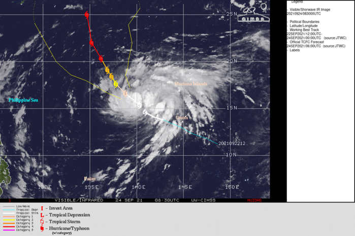 SATELLITE ANALYSIS, INITIAL POSITION AND INTENSITY DISCUSSION: ANIMATED MULTISPECTRAL SATELLITE IMAGERY (MSI) SHOWS THE SYSTEM HAS CONTINUED TO SLOWLY CONSOLIDATE AS THE CIRCULATION HAS BECOME  MORE DEFINED WITH THE FEEDER BANDS WRAPPING INTO THE LOW LEVEL CIRCULATION CENTER DEEPENING. THE INITIAL POSITION IS PLACED WITH MEDIUM CONFIDENCE BASED ON A 240432Z AMSR2 MICROWAVE IMAGE. THE INITIAL INTENSITY OF 50 KNOTS IS ASSESSED WITH MEDIUM CONFIDENCE  BASED ON THE AGENCY AND AUTOMATED DVORAK ESTIMATES. ENVIRONMENTAL  ANALYSIS INDICATES HIGHLY FAVORABLE CONDITIONS WITH LOW VERTICAL  WIND SHEAR, STRONG UPPER LEVEL OUTFLOW, AND VERY WARM SSTS IN THE  PHILIPPINE SEA. THE CYCLONE IS TRACKING ALONG THE SOUTHWESTERN  PERIPHERY OF THE DEEP-LAYERED STR TO THE NORTHEAST.