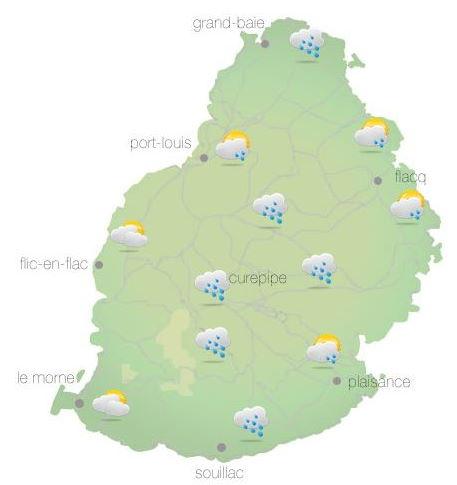 Bulletin prévision - Maurice  COMMUNIQUÉ DE LA MÉTÉO POUR MAURICE ÉMIS À 04H30 VENDREDI 08 OCTOBRE 2021.     SITUATION GÉNÉRALE:  Des nuages associés à la zone d'instabilité venant de l'Ouest influençent le temps local.  D'autre part,un anticyclone s'approche des Mascareignes par le Sud-Ouest et renforçera le vent sur notre région.     PRÉVISIONS POUR LES PROCHAINES 24 HEURES:  Nuageux ce matin avec des averses. Les averses pourraient être localement modérées par moments.  Le temps s'améliorera graduellement plus tard dans la matinée.  Des poches de brouillard seront présentes dans certaines régions.  Ciel-couvert dans l'après-midi.     La température maximale sera de 23 à 25 degrés Celsius sur le plateau central et de 27 à 29 degrés Celsius sur le littoral.     Le temps sera beau durant la nuit.     La température minimale variera entre 15 et 17 degrés Celsius sur les hauteurs et entre 19 et 21 degrés Celsius sur les régions côtières.     Vent du secteur Sud d'environ 15 km/h ce matin, se renforçant au-cours de la journée tout en se tournant vers le Sud-Est.     Mer agitée au-delà des récifs avec des vagues de 2 mètres.     Marées Hautes : 13h36 et demain 02h17.  Marées Basses : 07h38 et 20h14.     Lever du soleil       : 05h44.  Coucher du soleil : 18h10.     La pression atmosphérique à 04h00 : 1014 hectoPascals.