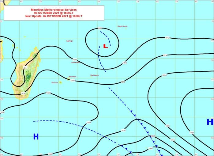"""L'anticyclone au Sud-Sud-Ouest des Mascareignes établit des alizés modérés à assez forts sur nos """"ziles"""". Un Avis de Vents Forts pour RODRIGUES a été émis par MMS/Vacoas : il est valable 24heures à partir de Samedi 13h."""
