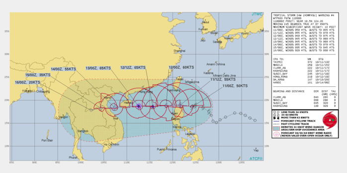 FORECAST REASONING.  SIGNIFICANT FORECAST CHANGES: THERE ARE NO SIGNIFICANT CHANGES TO THE FORECAST FROM THE PREVIOUS WARNING.  FORECAST DISCUSSION: THE SUBTROPICAL RIDGE(STR) WILL BUILD AND EXTEND FROM WESTWARD, THIS WILL CONTINUE DRIVING THE SYSTEM WESTWARD THROUGH THE LUZON STRAIT AND INTO THE SOUTH CHINA SEA (SCS). THE RIDGE OVER SOUTHEASTERN CHINA WILL ALSO INFLUENCE THE SYSTEM, FORCING THE MOVEMENT ACROSS HAINAN AND THE GULF OF TONKIN BEFORE MAKING LANDFALL IN NORTHERN VIETNAM BETWEEN 48/60H. THE ENVIRONMENT IS MORE FAVORABLE IN THE SCS AND TS 24W IS EXPECTED TO REACH A PEAK INTENSITY OF 70KNOTS/CAT 1 NEAR 48H. AFTERWARD, INCREASING VWS AND INTERACTION WITH HAINAN ISLAND WILL WEAKEN THE SYSTEM DOWN TO 60KNOTS AT 72H. AFTER LANDFALL, INTERACTION WITH THE RUGGED VIETNAMESE TERRAIN WILL RAPIDLY ERODE THE SYSTEM DOWN TO 20KNOTS AFTER IT CROSSES INTO LAOS NEAR CAMBODIA.