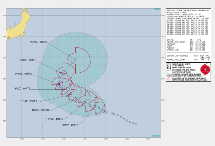 FORECAST REASONING.  SIGNIFICANT FORECAST CHANGES: THERE ARE NO SIGNIFICANT CHANGES TO THE FORECAST FROM THE PREVIOUS WARNING.  FORECAST DISCUSSION: TS 23W WILL CONTINUE ON A NORTHWEST TRACK TO THE NORTHWEST UP TO 48H. AFTERWARD, A SECONDARY SUBTROPICAL RIDGE(STR) TO THE EAST-SOUTHEAST WILL ASSUME STEERING AND DRIVE THE SYSTEM POLEWARD, CREST THE STR AXIS NEAR 72H, THEN RECURVE IT NORTHEASTWARD. THE FAVORABLE CONDITIONS WILL PROMOTE A STEADY INTENSIFICATION TO A PEAK OF 65KNOTS/CAT 1 BY 72H JUST AT THE RIDGE AXIS. AFTERWARD, INCREASING VWS AND COOLING SSTS WILL GRADUALLY DECAY THE SYSTEM DOWN TO 50KNOTS BY 96H. THEREAFTER, NAMTHEUN IS EXPECTED TO BEGIN  EXTRATROPICAL TRANSITION BY 120H AS IT CONTINUES TRACKING TO THE  NORTHEAST.