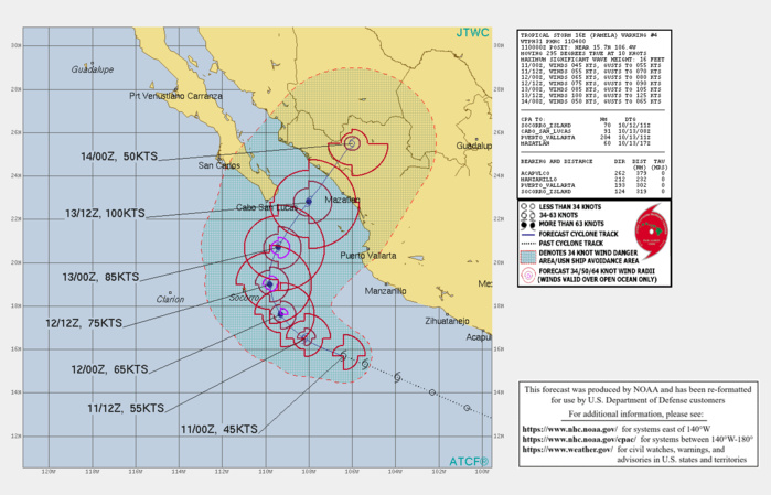 CURRENT INTENSITY IS 45KNOTS AND IS FORECAST TO INCREASE RAPIDLY AND PEAK AT 100KNOTS/CAT 3 BY 13/12UTC.