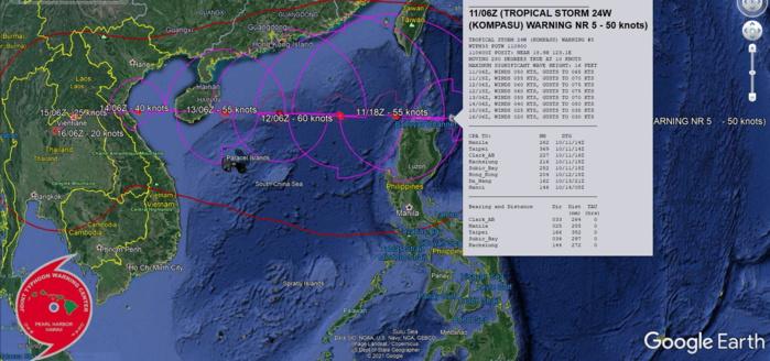 TS 24W(KOMPASU) tracking North of Luzon and intensifying gradually, 11/09utc