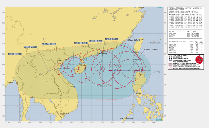 FORECAST REASONING.  SIGNIFICANT FORECAST CHANGES: THERE ARE NO SIGNIFICANT CHANGES TO THE FORECAST FROM THE PREVIOUS WARNING.  FORECAST DISCUSSION: TROPICAL STORM KOMPASU IS FORECAST TO CONTINUE TRACKING NEARLY DUE WEST THROUGH THE FORECAST PERIOD, ALONG THE SOUTHERN PERIPHERY OF THE DEEP SUBTROPICAL RIDGE(STR) LYING OVER CENTRAL CHINA. THE SYSTEM IS EXPECTED TO MAKE ITS FIRST LANDFALL ALONG THE COAST OF CENTRAL HAINAN ISLAND NEAR 36H, EMERGE INTO THE GULF OF TONKIN BY 48H, THEN MAKE A SECOND LANDFALL ALONG THE COAST OF NORTH VIETNAM NEAR 72H. THE GENERAL ENVIRONMENT IS EXPECTED TO REMAIN MARGINALLY FAVORABLE FOR ANOTHER 12 TO 18 HOURS, WITH SHEAR VALUES REMAINING AT OR BELOW CURRENT LEVELS. IN RESPONSE, TS 24W IS FORECAST TO INTENSIFY TO 60 KNOTS BY 12H. AFTER 12H, THE SYSTEM WILL WEAKEN STEADILY UNDER INCREASING VWS. AFTER CROSSING HAINAN, THE SYSTEM IS EXPECTED TO EMERGE INTO THE GULF OF TONKIN AS A WEAK TROPICAL STORM, AND THE COMBINATION OF WEAK OUTFLOW AND MODERATE LEVELS OF VWS WILL PRECLUDE ADDITIONAL INTENSIFICATION BEFORE THE SECOND LANDFALL. ONCE ASHORE, FRICTIONAL EFFECTS WITH THE RUGGED TERRAIN OF VIETNAM WILL RAPIDLY ERODE THE CIRCULATION, LEADING TO DISSIPATION OVER NORTHERN LAOS NO LATER THAN 120H.