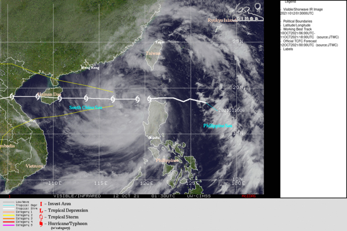 SATELLITE ANALYSIS, INITIAL POSITION AND INTENSITY DISCUSSION: ANIMATED MULTISPECTRAL SATELLITE IMAGERY (MSI) SHOWS THE BROAD EXTENT OF TS 24W, WITH SPIRAL BANDS EXTENDING FROM THE TAIWAN STRAIT IN THE NORTH TO SOUTHERN LUZON IN THE SOUTH. WHILE THE SYSTEM IS OVERALL QUITE LARGE, THE INNER CORE IS RELATIVELY SMALL. HAVING MOVED OFF TO THE WEST OF LUZON, THE EASTERN SIDE OF THE CIRCULATION HAS STRENGTHENED AND THE CORE HAS BECOME MORE SYMMETRICAL. HOWEVER, THE MSI AND ENHANCED INFRARED IMAGERY SHOW THAT CORE CONVECTION HAS DECREASED SIGNIFICANTLY OVER THE PAST SIX HOURS. A 112308Z SSMIS 91GHZ MICROWAVE IMAGE SHOWED A WELL-DEFINED BAND OF HEAVY CONVECTION TO THE SOUTHWEST OF LUZON, WEAK SPIRAL BANDS WITHIN THE CORE, BUT LITTLE TO NO DEEP CONVECTION IN THE NORTHEAST QUADRANT OF THE SYSTEM. THE INITIAL POSITION IS PLACED WITH HIGH CONFIDENCE BASED ON A SPIRAL BAND ANALYSIS OF THE AFOREMENTIONED MICROWAVE IMAGE. THE INITIAL INTENSITY OF 55 KNOTS IS ALSO ASSESSED WITH HIGH CONFIDENCE BASED ON AN AGREEMENT ACROSS ALL OBJECTIVE AND SUBJECTIVE DVORAK CURRENT INTENSITY ESTIMATES. THE ENVIRONMENT IS OVERALL MARGINALLY FAVORABLE, WITH WARM SSTS AND STRONG EQUATORWARD AND MODERATE POLEWARD OUTFLOW BEING OFFSET BY MODERATE EASTERLY VERTICAL WIND SHEAR.
