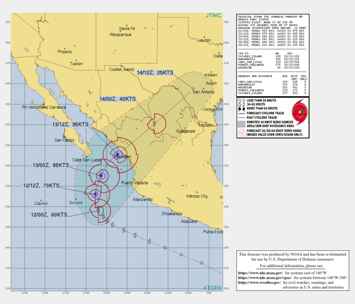 CURRENT INTENSITY IS 60KNOTS AND IS FORECAST TO PEAK AT 95KNOTS/CAT 2 BY 13/12UTC CLOSE TO THE MEXICAN COASTLINE.