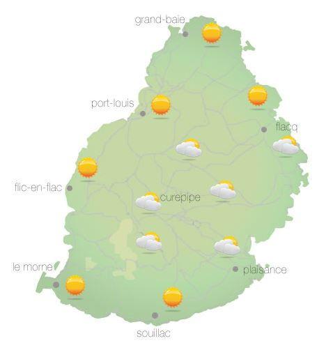 Bulletin prévision - Maurice  COMMUNIQUÉ DE LA MÉTÉO POUR MAURICE ÉMIS À 04H30 CE MARDI 12 OCTOBRE 2021.     SITUATION GÉNÉRALE:  Un courant d'air léger et relativement chaud du Nord Est circule sur notre région.  PRÉVISIONS POUR LES PROCHAINES 24 HEURES: Il fera essentiellement beau ce matin et au cours de la journée. Toutefois le ciel deviendra temporairement nuageux dans l'après-midi sur la partie Sud Ouest avec quelques ondées localisées. La température maximale sera supérieure à la moyenne par environ 2 degrés Celsius et variant entre 24 et 26 degrés Celsius sur le plateau central et de 28 à 31 degrés Celsius les régions côtières.  Il fera essentiellement beau durant la nuit. La température minimale variera entre 16 et 18 degrés Celsius sur les hauteurs et entre 20 et 22 degrés Celsius sur le littoral.  Vent léger et variable ce matin, et soufflera du Nord Est d'environ 15 km/h au cours de la journée.   Mer agitée au-delà des récifs avec des vagues de l'ordre de 2 mètres.     Marées Hautes : 05h35 et 14h52. Marées Basses : 10h20 et demain 00h58.     Lever du soleil     : 05h41.  Coucher du soleil : 18h11.     La pression atmosphérique à 04h00 : 1017 hectoPascals.