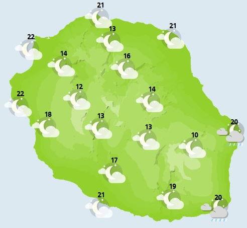 ILES SOEURS: Mardi 12 Octobre 2021: les prévisions du temps pour MAURICE et la RÉUNION: soleil pour l'une, pluies pour l'autre!