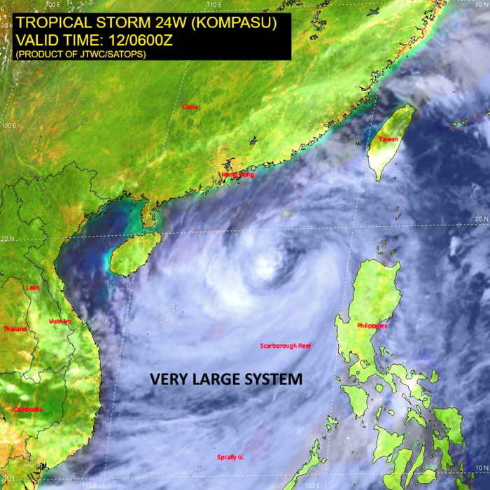 SATELLITE ANALYSIS, INITIAL POSITION AND INTENSITY DISCUSSION: ANIMATED MULTISPECTRAL SATELLITE IMAGERY DEPICTS A VERY LARGE (GREATER THAN 10 DEGREE DIAMETER) SYSTEM WITH EXTENSIVE DEEP CONVECTIVE BANDING WRAPPING INTO A LARGE RAGGED CENTER (APPROXIMATELY 200KM DIAMETER). DUE TO THE VERY LARGE NATURE OF THIS SYSTEM, GALE-FORCE WINDS EXTEND OUT ALONG THE PERIPHERY NEAR TAIWAN AND SOUTHWEST OF LUZON. A 120600Z AMSR2 89GHZ MICROWAVE IMAGE INDICATES FRAGMENTED CONVECTIVE BANDS WRAPPING AROUND THE WESTERN SEMICIRCLE OF THE LARGE LOW-LEVEL CIRCULATION CENTER, WHICH SUPPORTS THE INITIAL POSITION WITH MEDIUM CONFIDENCE. THE INITIAL INTENSITY OF 55 KNOTS IS ASSESSED WITH MEDIUM CONFIDENCE BASED ON THE AGENCY DVORAK ESTIMATES. UPPER-LEVEL ANALYSIS INDICATES A MARGINALLY FAVORABLE ENVIRONMENT WITH LOW TO MODERATE VERTICAL WIND SHEAR (VWS) OFFSET BY STRONG EQUATORWARD OUTFLOW.