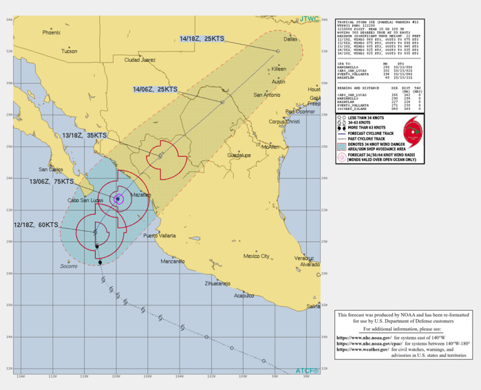 CURRENT INTENSITY IS 60KNOTS AND IS FORECAST TO PEAK AT 70KNOTS/CAT 1 BY 13/12UTC WHILE THE HURRICANE IS FORECAST TO MAKE LANDFALL NORTH OF MAZATLAN/MEXICO.