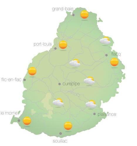 Bulletin prévision - Maurice  COMMUNIQUÉ DE LA MÉTÉO POUR MAURICE ÉMIS À 04H30 CE MERCREDI 13 OCTOBRE 2021.   SITUATION GÉNÉRALE:  Des nuages associés à une faible ligne d'instabilité venant de l'Est influenceront le temps local cet après-midi.   PRÉVISIONS POUR LES PROCHAINES 24 HEURES:  Beau temps ce matin.  Périodes nuageuses dans l'après-midi avec des averses sur la partie Est de l'île et sur le Plateau Central. Les averses déborderont à l'Ouest en fin d'après-midi.     La température maximale variera entre 24 et 26 degrés Celsius sur le plateau central et entre 28 et 30 degrés Celsius les régions côtières.     Beau temps durant la nuit.     La température minimale variera entre 16 et 18 degrés Celsius sur les hauteurs et entre 20 et 22 degrés Celsius sur le littoral.     Le vent soufflera de l'Est à 15 km/h.     Mer peu agitée avec des vagues de 1 mètre 50 au-délà des récifs.   Marées Hautes : 10h22 et demain 10h54. Marées Basses : Demain 03h21 et 17h13   Lever du soleil     : 05h40.  Coucher du soleil : 18h12.   La pression atmosphérique à 04h00 : 1017 hectoPascals.