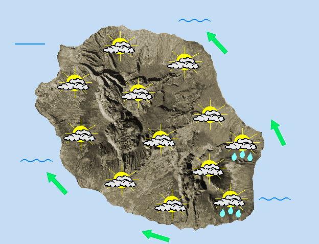 JOURNEE DU MERCREDI 13  L'alizé reste peu véloce dans une masse d'air devenant progressivement moins humide.  Le ciel est nuageux sur l'ensemble de l'île en ce début de journée avec encore quelques petites averses possibles sur la frange littorale Est qui peuvent atteindre le flanc Est du volcan, les hauts de Sainte-Rose et les hauts de l'Est en matinée. Ailleurs, le temps reste sec. Quelques éclaircies auront même la volonté de percer mais c'est tout de même un temps gris qui prédomine dans l'intérieur du département en journée. Dès la mi-journée, des averses se déclenchent sur le relief, notamment dans les hauteurs de Saint-Leu en remontant vers celles de la Possession mais également sur les contreforts Sud du volcan. Les températures restent douces, atteignent 24 à 28°C sur le littoral, 21 à 23°C dans les cirques et 15 à 17°C au Maïdo ou au Pas de Bellecombe-Jacob. Les brises sont majoritaires en journée mais un léger vent de Nord-Est peut temporairement souffler en baie de la Possession ainsi qu'au voisinage de Saint-Philippe. La mer est agitée sur l'Ouest et le Sud en raison de la présence d'une houle australe qui s'amplifie en journée et flirte avec les 2 mètres 50 cet après-midi et en cours de nuit prochaine.