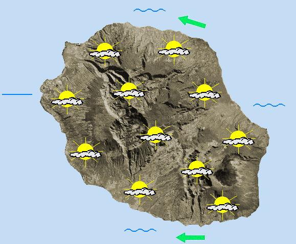 JOURNEE DU JEUDI 14  Retour d'un alizé plus sec.  L'humidité de ces derniers jours prend le large, et le soleil agrémente significativement la matinée ( même si  quelques plaques nuageuses traînent ici ou là). En milieu de journée, les nuages se font  remarquer dans les hauts et étendent progressivement leur influence sur l'île.  Des averses sont attendues, prioritairement sur les hauts de l'ouest  et glissent ensuite vers les zones littorales au fil de l'après-midi.  Les éclaircies s'installent durablement sur les littoraux nord et sud. Les températures maximales approchent 28°C en bordure de mer. Cet après-midi, l'alizé relaie les brises matinales,  avec de petites rafales de 40 à 50 km/h sur les côtes sud . Un petit vent de nord-est est de la partie en baie de la Possession. La mer est agitée à forte dans l'ouest et le sud. La houle australe entame son amortissement : comprise entre 2 mètres et 2 mètres 50 jusqu'en fin d'après-midi. Elle repasse sous le seuil des 2 mètres en soirée.