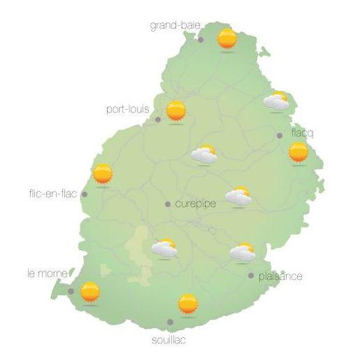 Bulletin prévision - Maurice  COMMUNIQUÉ DE LA MÉTÉO POUR MAURICE ÉMIS À 04H30 CE VENDREDI 15 OCTOBRE 2021.     SITUATION GÉNÉRALE: Un vent modéré souffle sur notre région.  PRÉVISIONS POUR LES PROCHAINES 24 HEURES:  Beau temps ce matin et ensoleillé au cours de la journée.  La température maximale variera entre 23 et 26 degrés Celsius sur le plateau central et entre 28 et 30 degrés Celsius les régions côtières.  Il y aura ondées passagères durant la nuit principalement à l'Est, au Sud et sur le plateau central.  La température minimale variera entre 17 et 19 degrés Celsius sur les hauteurs et entre 20 et 22 degrés Celsius sur le littoral.  Vent d'Est-Sud-Est à environ 20 km/h.   Mer agitée au-délà des récifs avec des houles du secteur Sud de l'ordre de 2 mètres.     Marées Hautes : 11h19 et 22h46.  Marées Basses : 17h29 et demain 05h05.     Lever du soleil     : 05h39.  Coucher du soleil : 18h12.     La pression atmosphérique à 04h00 : 1019 hectoPascals.