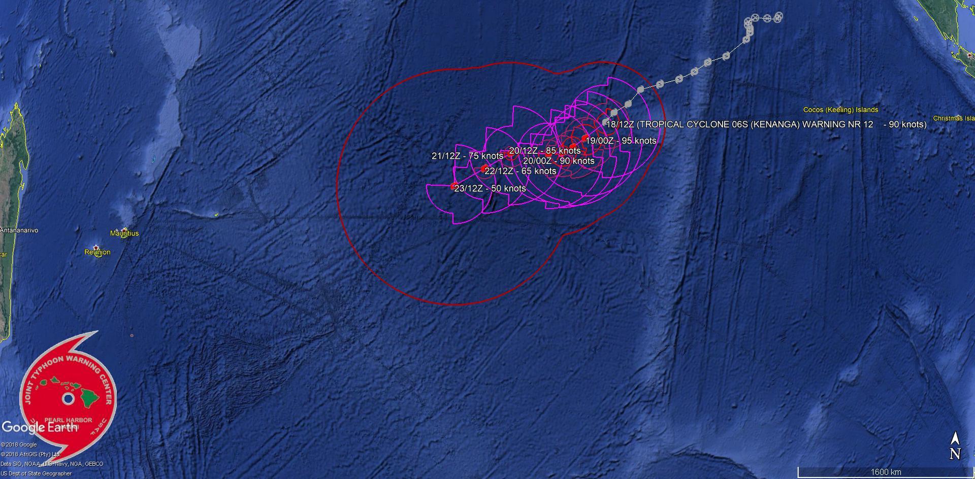 A 16h le cyclone était localisé à 2220km de Rodrigues. Dans 5 jours il pourrait se trouver à 1350km à l'est de Rodrigues en cours d'affaiblissement en simple tempête modérée.