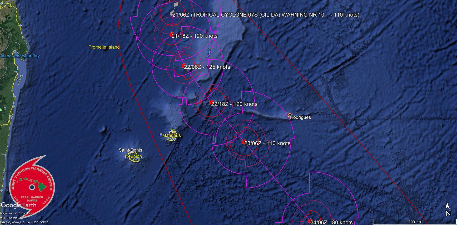 Cliquez sur l'image.Prévisions de trajectoire et d'intensité du JTWC(Navy US).