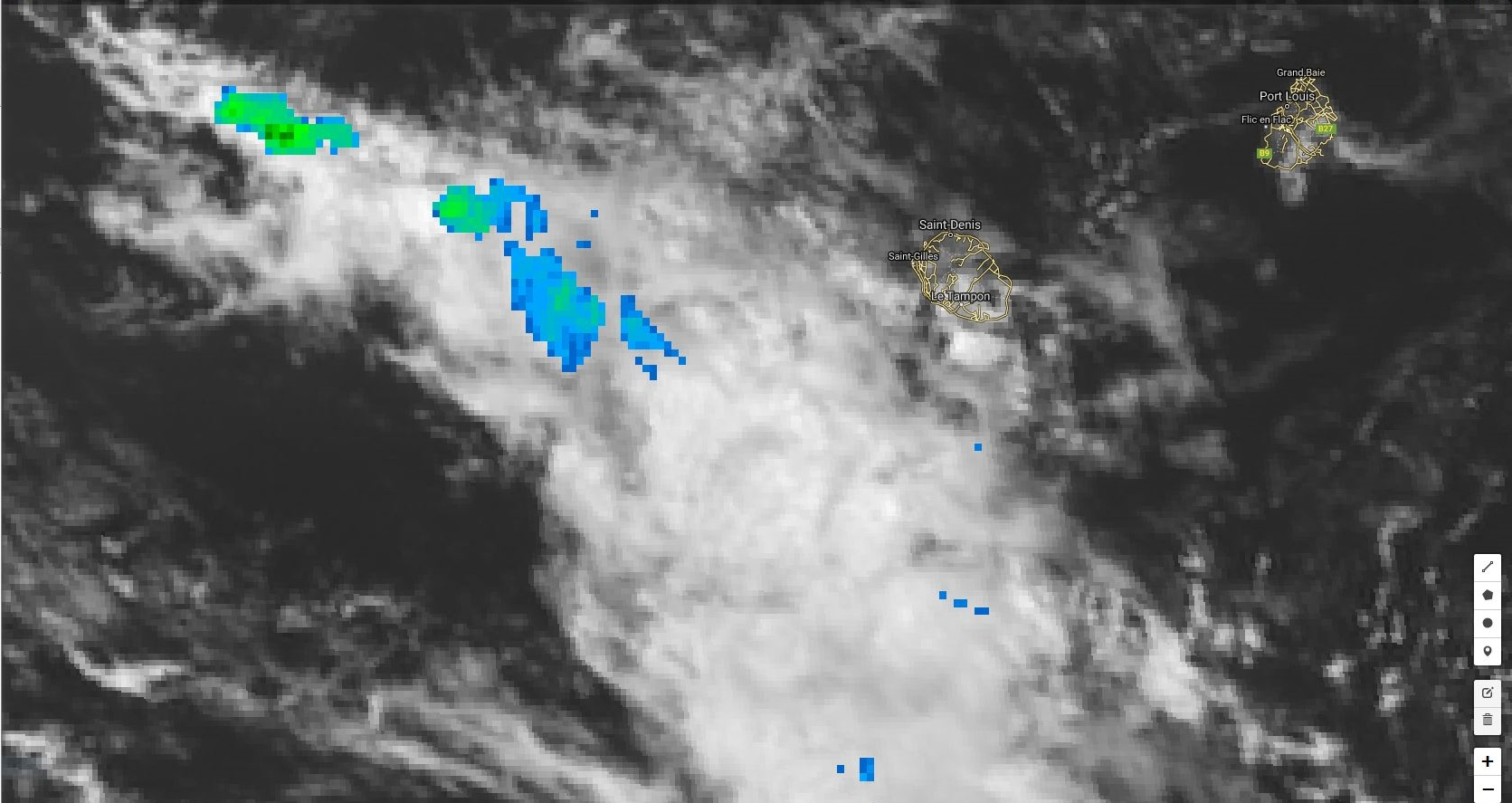 Cliquez sur l'image.La ligne d'instabilité avec des zones localement actives est située entre la Réunion et Madagascar à 14h.