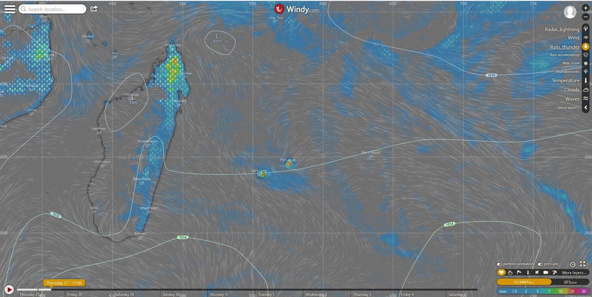 Simulation du modèle européen en fin d'après midi.