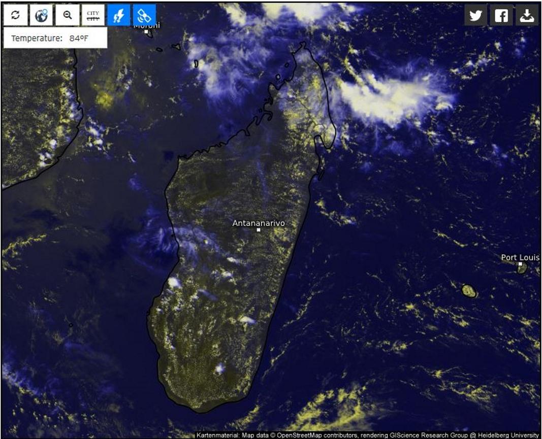 A pirori les orages devraient se concentrer sur la moitié sud ouest de Madagascar cet après midi et en début de soirée.