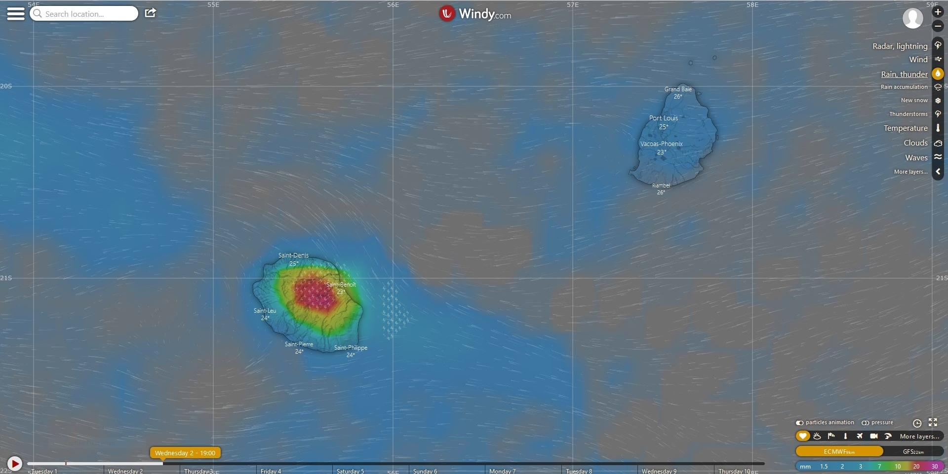 Bonnes précipitations avec un risque orageux dans l'intérieur de la Réunion pour demain après midi selon le modèle européen.