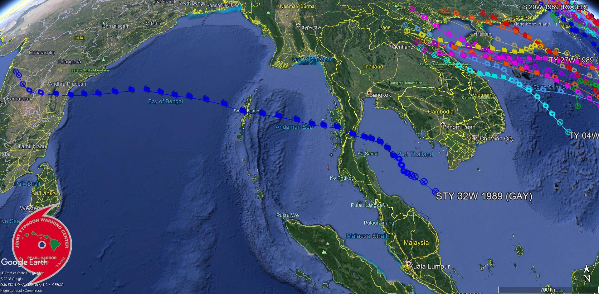 GAY en 1989 frappe la Thaïlande au stade de cyclone intense puis s'intensiifie en Super Cyclone sur le Golfe du Bengale. Classé en Cat5 US, la maximale.