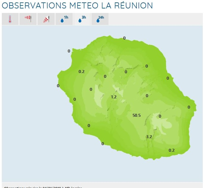 A 18h pluies en 3heures. Météo France Réunion.
