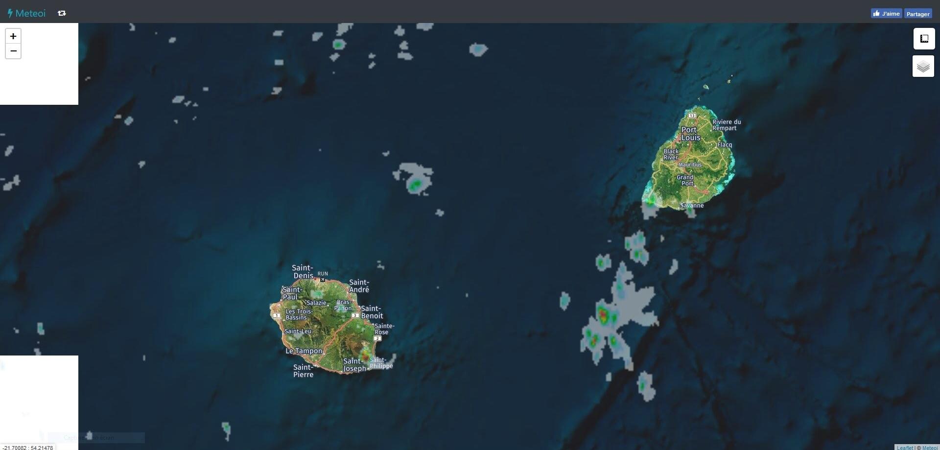 Même image radar mais avec un plan plus large. Meteoi.re